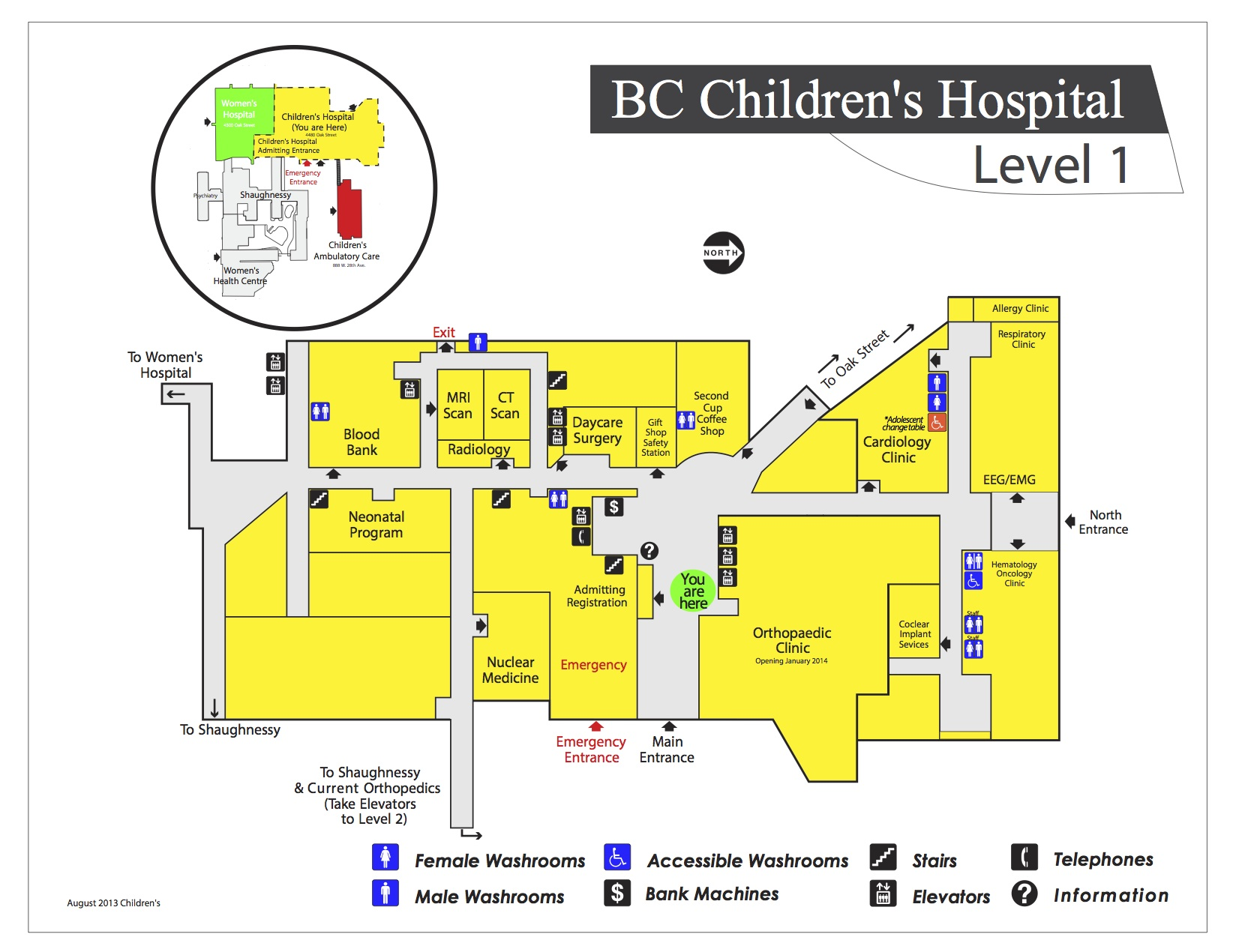 Bc Children\'s Hospital Map Map: 1st Floor BC Children's Hospital | BC Children's, Sunnyhill  Bc Children\'s Hospital Map